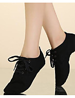 cheap -Women's Jazz Shoes Canvas Flat Performance / Practice Flat Heel Dance Shoes White / Black / Red
