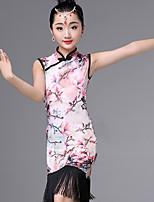 cheap -Latin Dance Dresses Girls' Performance Ice Silk Pattern / Print / Tassel / Ruching Sleeveless Dress