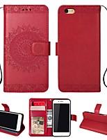 Недорогие -Кейс для Назначение Apple iPhone 7 / iPhone 6 Кошелек / Бумажник для карт / со стендом Чехол Однотонный Твердый Кожа PU для iPhone 7 / iPhone 6
