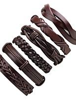 Недорогие -стек Кожаные браслеты - Мода Браслеты Черный Назначение Официальные / Для улицы