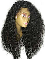 Недорогие -Remy Лента спереди Парик Бразильские волосы / Волнистые Кудрявый С конским хвостом 130% плотность С детскими волосами / Природные волосы