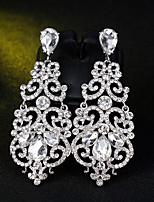 baratos -Mulheres Brincos Compridos - Flor Simples, Europeu, Fashion Prata Para Casamento / Diário