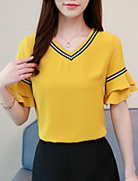 cheap -Women's Blouse - Solid Colored / Striped V Neck