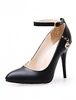 cheap -Women's Shoes Leatherette Fall Comfort / Novelty Heels Stiletto Heel Pointed Toe Buckle White / Black / Party & Evening