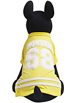 cheap -Dogs / Cats / Pets Shirt / T-Shirt Dog Clothes Striped / Letter & Number Yellow / Red / Blue Cotton Costume For Pets Male Casual / Sporty