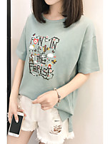 cheap -Women's Basic T-shirt - Solid Colored / Letter / Animal Print