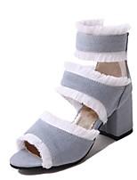 economico -Per donna Scarpe Di corda Estate Innovativo Tacchi Footing Quadrato Occhio di pernice Nero / Blu scuro / Azzurro chiaro