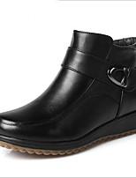 Недорогие -Жен. Обувь Кожа Зима Удобная обувь Ботинки На плоской подошве Черный