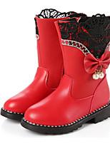 Недорогие -Девочки Обувь Полиуретан Зима Удобная обувь / Модная обувь Ботинки для Черный / Красный / Розовый