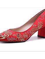 abordables -Femme Chaussures Soie Printemps Escarpin Basique Chaussures de mariage Talon Bottier pour Mariage Rouge