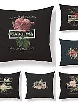 cheap -6 pcs Textile / Cotton / Linen Pillow case, Floral / Floral Print / Classic Simple / Square Shaped