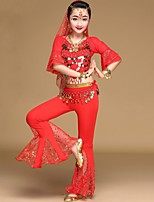 cheap -Belly Dance Outfits Girls' Performance Spandex Copper Coin Gore Half Sleeves Dropped Top Pants Waist Accessory