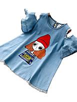 baratos -Bébé Para Meninas Sólido Manga Curta Vestido