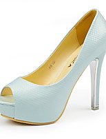 cheap -Women's Shoes Leather Summer Comfort / Basic Pump Heels Stiletto Heel Peep Toe Black / Beige / Blue / Party & Evening / Party & Evening