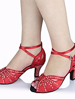 cheap -Women's Latin Shoes Silk Heel Performance / Practice Stiletto Heel Dance Shoes Red