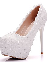 cheap -Women's Shoes PU Spring Fall Novelty Comfort Wedding Shoes Stiletto Heel Round Toe Pearl for Wedding Party & Evening White