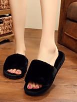 cheap -Women's Shoes Fur Spring Comfort Slippers & Flip-Flops Flat Heel Open Toe Feather Black / Wine