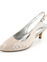 cheap -Women's Shoes Lace Summer Comfort Wedding Shoes Kitten Heel Pointed Toe Rhinestone / Sparkling Glitter Silver / Champagne / Ivory