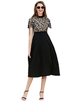 cheap -SHE IN SUN Women's Chinoiserie A Line / Sheath Dress - Geometric Patchwork / Print