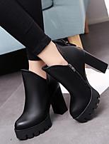 Недорогие -Жен. Обувь Полиуретан Наступила зима Армейские ботинки Ботинки На толстом каблуке Круглый носок Ботинки Пряжки Черный