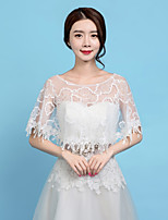 cheap -Sleeveless Lace Wedding / Party / Evening Women's Wrap With Lace-trimmed Bottom / Tassel Capelets