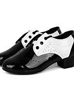 cheap -Boys' Latin Shoes Leatherette Sandal Outdoor / Professional Low Heel Customizable Dance Shoes White / Black / Black-white
