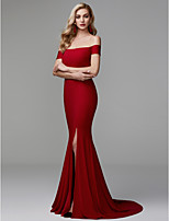 cheap -Mermaid / Trumpet Off Shoulder Sweep / Brush Train Spandex Formal Evening Dress with Split Front by TS Couture®