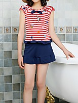 cheap -Kids Girls' Solid Colored / Striped / Color Block Short sleeves Swimwear