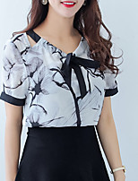 cheap -Women's Street chic Blouse - Floral Lace up