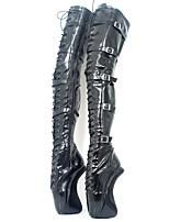 Недорогие -Жен. Обувь Полиуретан Наступила зима Оригинальная обувь / Модная обувь Ботинки Гетеротипическая пятка Круглый носок Сапоги выше колена