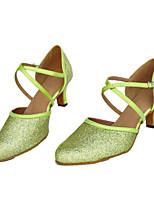 Недорогие -Жен. Обувь для модерна Блестки На каблуках Выступление На толстом каблуке Персонализируемая Танцевальная обувь Зеленый