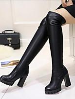 abordables -Femme Chaussures Polyuréthane Automne Confort Bottes Talon Bottier pour Décontracté Noir