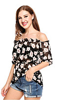 cheap -Women's Basic / Boho Blouse - Geometric Black & White / Blue & White, Lace