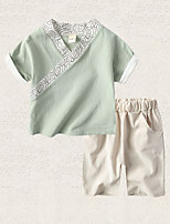 cheap -Kids Boys' Solid Colored Short Sleeve Clothing Set