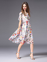 cheap -FRMZ Women's Basic A Line Dress - Floral Ruffle / Print