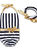 cheap -Toddler Girls' Striped Color Block Sleeveless Swimwear