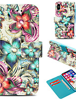 Недорогие -Кейс для Назначение Apple iPhone X / iPhone 8 Plus Кошелек / Бумажник для карт / со стендом Чехол Цветы Твердый Кожа PU для iPhone X / iPhone 8 Pluss / iPhone 8