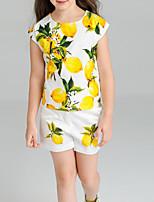 cheap -Kids Girls' Lemon Fruit Short Sleeve Clothing Set