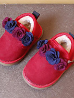 cheap -Girls' Shoes Fleece Winter Comfort Sneakers Flower for Black / Red