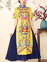 cheap -8CFAMILY Women's Vintage / Chinoiserie Swing Dress - Geometric Split / Embroidered