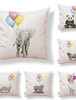 cheap -6 pcs Textile / Cotton / Linen Pillow case, Art Deco / Animal / Printing Simple / Square Shaped