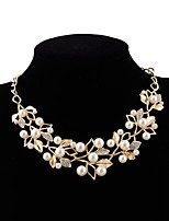 cheap -Choker Necklace  -  Imitation Pearl Flower European, Sweet Gold, Silver 54 cm Necklace For Wedding, Evening Party