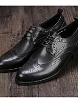 Недорогие -Муж. обувь Кожа Осень Удобная обувь Туфли на шнуровке Черный / Коричневый