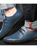 Недорогие -Муж. обувь Кожа Лето Удобная обувь Туфли на шнуровке Черный / Коричневый / Синий