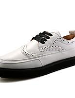 abordables -Femme Chaussures Gomme Eté / Automne Confort Oxfords Talon Plat Blanc / Noir / Gris