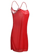 cheap -Women's Chemises & Gowns Nightwear - Flower, Solid Colored Embroidered