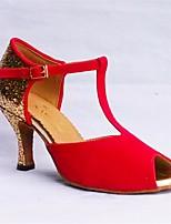 Недорогие -Жен. Обувь для латины Нубук На каблуках Выступление / Тренировочные На шпильке Танцевальная обувь Красный / Синий