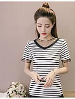 cheap -Women's Cotton T-shirt - Striped / Cotton / Striped