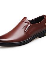 Недорогие -Муж. обувь Кожа Весна Удобная обувь Мокасины и Свитер Черный / Коричневый