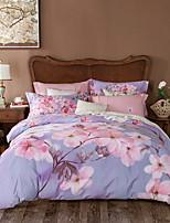 cheap -Duvet Cover Sets Floral Poly / Cotton Reactive Print 4 Piece